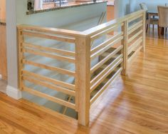 Contemporary Stair With Hand Railing Family Room Banister And Replaced Wood Rail For An