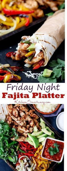 This chicken fajita sharing platter is perfect the perfect alternative to a Friday night takeout! #fajitas #chicken