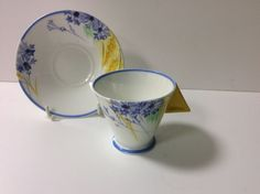 RARE SHELLEY ART DECO MODE SHAPE COFFEE CUP AND SAUCER RARE CORNFLOWER PATTERN