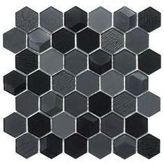 Modern Hexagon Black Glass Mosaic Tile Backsplash Kitchen Feature Wall - Wall Tiles - Ideas of Wall Tiles Glass Mosaic Tile Backsplash, Hexagon Mosaic Tile, Black Backsplash, Kitchen Backsplash, Mosaic Glass, Blue Mosaic, Backsplash Ideas, Tile Ideas, Kitchen Feature Wall