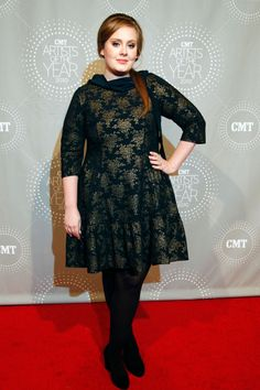 Adele attends the CMT Artists of the Year event wearing a vintage black and gold brocade number in Franklin, TN.%0A  - ELLE.com