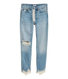 Check this out! 5-pocket, loose-fit jeans in thick, washed denim with heavily distressed details. Contrasting zip at front, button at waist, and tapered legs with raw-edge hems. - Visit hm.com to see more.