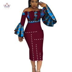 Image of 2018 Summer Dashiki Party Hot Vestidos for Women Cotton Print Traditional African Clothing nature dress Mid-Calf African Fashion Ankara, Latest African Fashion Dresses, African Print Fashion, Africa Fashion, African Prints, African Attire, African Wear, African Dress, African Clothes