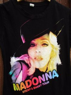 Madonna Sticky & Sweet T Shirt womens sz L 2008 Concert Tour Black Soft N Thin  #Tulex #GraphicTee