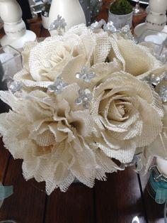 Burlap flower wedding bouquet.