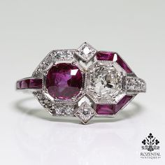 Antique Art Deco Platinum Ruby (GIA certified) & Diamond Ring | Jewelry & Watches, Vintage & Antique Jewelry, Fine | eBay!