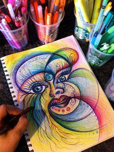 Vous recevrez le dessin original, pas la photo. :)    Médium : stylo, marqueur, crayon de couleur, stylo gel & surligneur sur papier à dessin —