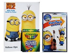 New Minion Despicable Me 2 Big Fun Book to Color Activity Set with Minions Play Pack Grab and Go with Stickers and Crayola Ultra-clean Washable Large Crayons