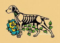 Día de muertos Dia de perro Braco de Weimar de por illustratedink