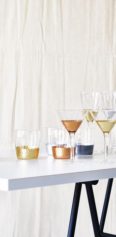 Celebrate Happy Hour With This Mixed Metallic Set Of Two Martini Glasses.