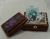 Miniature Hand Painted Sewing Box with Silk Embroidered Scissors Case