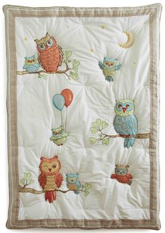 Baby Owls Quilt- Hand applique with flax linen border and baby ric rac and ribbon trim. Coming February to our website