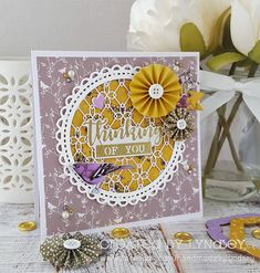 Thinking of you - Dovecraft Natu. Card Kit, I Card, Yellow Paper, Pretty Cards, Blank Cards, How To Introduce Yourself, Handmade Cards, Holiday Cards, Thinking Of You
