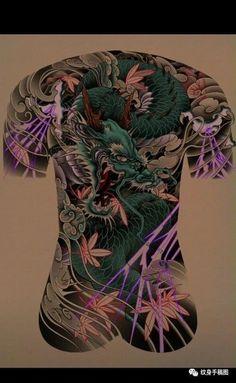 Japanese Tatto, Irezumi, Back Tattoo, Tattoo Designs, Tattoo Ideas, Lunges, Tattoos, Art Drawings, Dragon