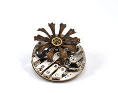 Steampunk Brooch Steampunk Flower Pin Vintage Watch by chanchala, $32.00