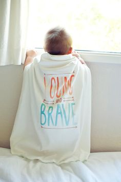 """Special Edition """"Young and Brave"""" Blankie, Infant or Toddler Organic Cotton Blanket on Etsy, $52.00"""