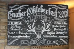 Artistic Credit: @Piper Raffle  @RaffleCreative  Chalk Art | Oktoberfest | Sign | Beer | Antler | Scroll | Filigree| Wheat | German
