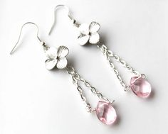 Silver Flower Earrings with Pink Quartz Glass by EverywhereUR, $35.00 #prom #wedding