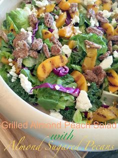 This Peach salad combines amazing flavors with a Peach Poppy Seed Dressing and Almond flavored pecans.
