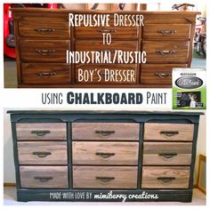 Chalkboard Dresser How to make any dresser look more industrial and rustic (similar to Restoration Hardware's look) using only Chalkboard paint. Super easy and made my boys' room look so much more handsome and cool! Industrial Dresser, Industrial Design Furniture, Vintage Industrial Furniture, Refurbished Furniture, Paint Furniture, Furniture Projects, Rustic Furniture, Furniture Makeover, Industrial Boys Rooms