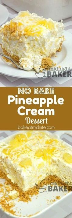 8 oz softened cream cheese1 tub (8 oz) whipped topping1 large can (14-16 oz) crushed pineapple, drained¾ cup confectioner's sugar½ cup pineapple chunks½ cup shredded coconut for topping.Crust:1½ cups graham cracker crumbs⅓ cup sugar½ cup butter, melted.  Chill 4 hours