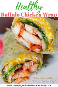 This buffalo chicken wrap is healthy and easy. It is protein packed so that it can be a quick snack and easily modified so that it is kid friendly. #parentingwithadashofauthenticity #healthy #buffalochicken #easychickenrecipe #kidfriendly #proteinpacked