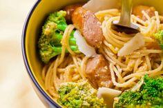 Elephant House Sausage and broccoli cabonara : http://www.elephanthousesausages.com/recipes/our-recipes/sausage-and-broccoli-cabonara/