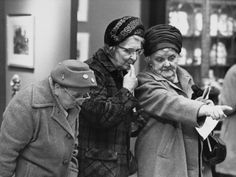 Three elderly ladies at an Antique Fair - Manchester, 1968 by Shirley Baker -- Photographic Print