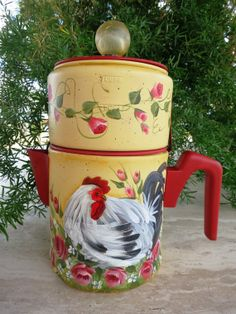 Hand Painted vintage 3 cup drip coffee pot by 1RamblingPaintbrush, $62.00
