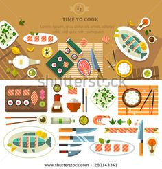 Dining table with dishes in top view. Restaurant asian cuisine: chef prepares sushi and fish. Devices for cooking, kitchenware. Vector flat illustration - stock vector