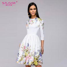 S.FLAVOR 2018 NEW Women casual knee-length dress Elegant printing O-neck A-line Vestidos women spring summer party dress
