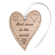 Best mum in the world engraved wooden heart