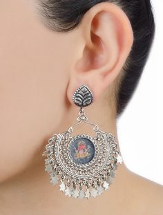 Buy Multicolor Lord Ganesha Drop Silver Earrings Glass Jewelry Deity Etched with Hand Painted Idol Motifs Online at Jaypore.com