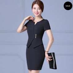 check this black office dress! so stylish Black Office Dress, Office Dresses, Dresses For Work, Office Wear, Peplum Dress, Stylish, Check, How To Wear, Collection