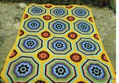 Vintage-70s-Crochet-Mosaic-Afghan-Pattern