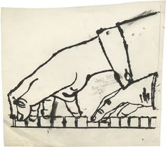 Andy Warhol: No Title (Two Hands Playing Piano), c. 1954 ink and graphite on…