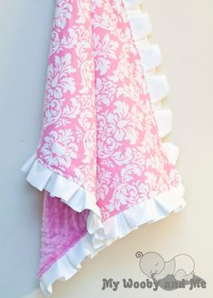 Cotton Candy Dandy Damask Minky Baby Blanket with by MyWoobyandMe, $26.99