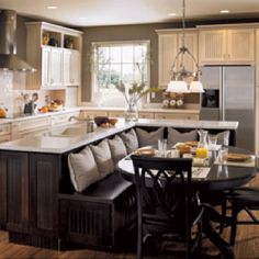 love the bench seat idea for a kitchen seating area