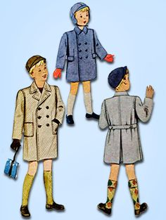 "McCall Pattern 7009 Toddler Boys Double Breasted Coat Pattern Dated 1947 Factory Folded and Unused New Old Stock Pattern Size 2 (21"" Bust)"