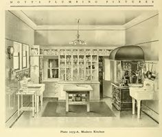 Modern kitchen from Mott's 1907 Plumbing catalog - note the tile floor and contrasting border 1920s Kitchen, Victorian Kitchen, Old Kitchen, Victorian Homes, Vintage Kitchen, Danish Kitchen, Victorian Life, Kitchen Ideas, Kitchen Design