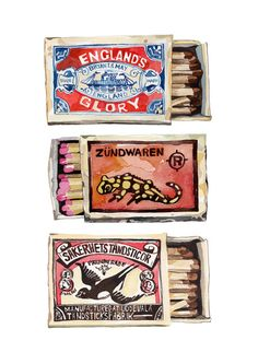 Matchboxes by Holly Exley Illustration.