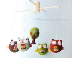 Woodland Owl Baby Mobile Woodland Colors Owl by AContinualLullaby