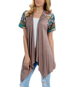Another great find on #zulily! Taupe Geo Sidetail Cardigan #zulilyfinds