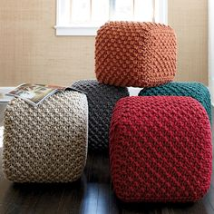 How fun are these Square Poufs in various colors.  Place a few around the fireplace!  Available at The Company Store for $129. each.