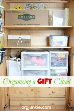 Organizing a Gift Closet.when I have a house with storage space. Organization Station, Household Organization, Home Organization Hacks, Organizing Your Home, Closet Organization, Organizing Ideas, Organisation Ideas, Organising, Organizar Closets