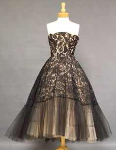 Black Lace & Pink Tulle 1950's Cocktail Dress w/ Graduated Hemline