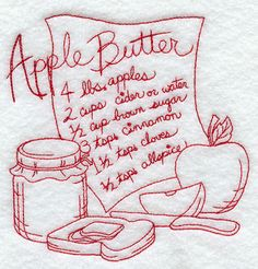 Apple Butter (Redwork) design (F8772) from www.Emblibrary.com