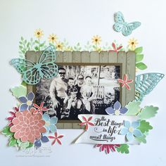 The Stamping Idea Corner: Flower Patch Scrapbook Page. Stampin' Up! Flower Patch and Flower Flair Thinlits, Butterfly Thinlits, Hardwood Stamp, Feel Goods Stamp Set.