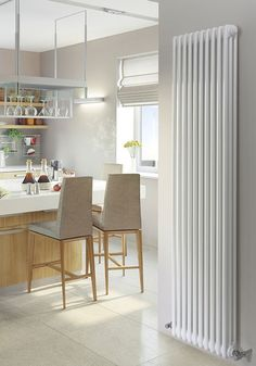 Standing tall at the MHS Multisec Vertical Wall Mounted Radiator is assured to add class and style to any home. Crafted from robust steel tubing and finished in a pristine white, this radiator would complement almost any interior. Tall Radiators, Vertical Radiators, Column Radiators, Kitchen Radiators, Bedroom Radiators, Modern Radiators, Decorative Radiators, Traditional Radiators, Chrome Towel Bar
