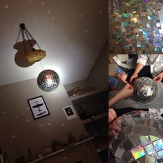 What to do when life hands you an abundance of sparkly outdated technology? How to make a mirror ball from CD's. For the base, we used a polystyrene ball spray painted with silver paint. To cut u...